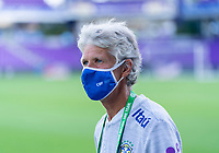 ORLANDO, FL - FEBRUARY 18: Pia Sundhage of Brazil watches her team before a game between Argentina and Brazil at Exploria Stadium on February 18, 2021 in Orlando, Florida.