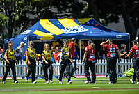 The teams shake hands after the Dream11 Super Smash women's cricket match between the Wellington Blaze and Canterbury Magicians at Basin Reserve in Wellington, New Zealand on Thursday, 9 January 2020. Photo: Dave Lintott / lintottphoto.co.nz