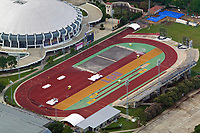 Louisiana State University Bernie Moore Track Stadium, Baton Rouge, Louisiana, the Carl Moddox Field House stadium at the left