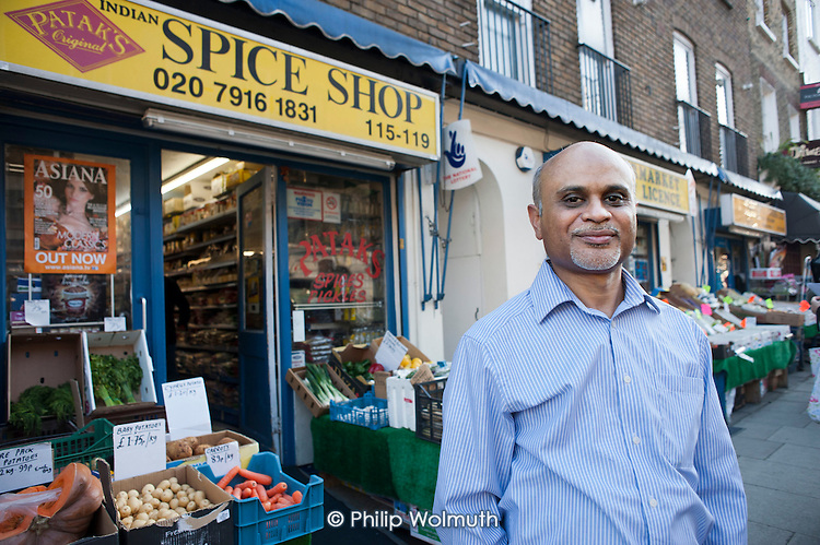 Arsat Baguaty, outside his shop in Drummond Street, Euston..  The street is noted for its thriving Bangladeshi-run restaurants, but its future is threatened by the HS2 high-speed rail development.