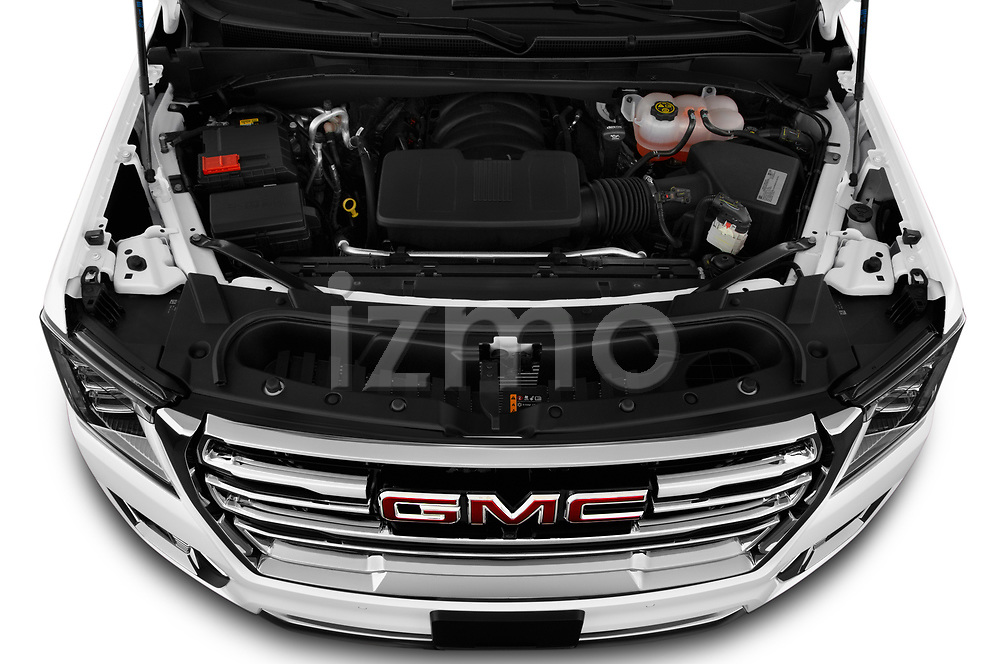 High angle engine detail of a 2021 GMC Yukon XL SLT 5 Door SUV