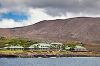 Four Seasons Resort at Manele Bay, Hulopoe Bay, South Lāna'i, Lāna'i aka Pineapple Island because of its past as an island-wide pineapple plantation of Dole, the sixth-largest island of the Hawaiian Islands, Hawaii, USA, Pacific Ocean