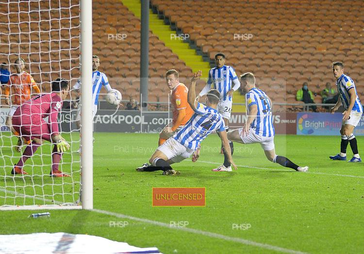 14/09/2021 Sky Bet Championship Blackpool v Huddersfield Town  <br /> <br /> Shane Lavery shot blocked by Matty Pearson