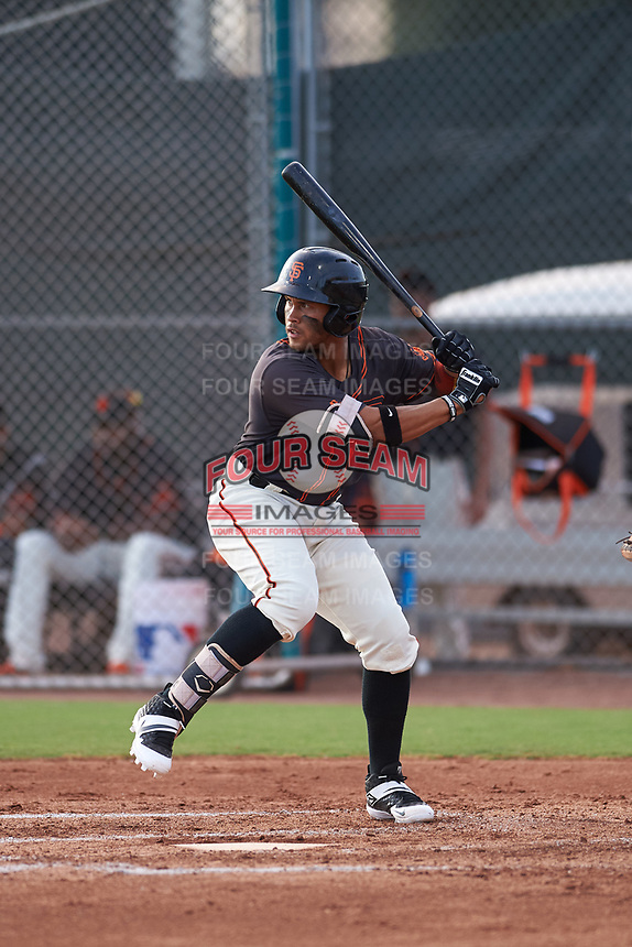 AZL Giants Black Jose Rivero (2) at bat during an Arizona League game against the AZL Giants Orange on July 19, 2019 at the Giants Baseball Complex in Scottsdale, Arizona. The AZL Giants Black defeated the AZL Giants Orange 8-5. (Zachary Lucy/Four Seam Images)