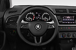 Car pictures of steering wheel view of a 2019 Skoda Fabia Ambition 5 Door Hatchback