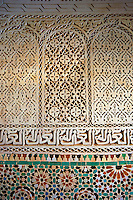 Berber Mocarabe Honeycomb work plaster decorations and Berber design tiles of the Mauseleum of Moulay Ismaïl Ibn Sharif , reigned 1672–1727. A UNESCO World Heritage Site .Meknes, Meknes-Tafilalet, Morocco.