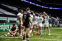 4th April 2021; Paris La Défense Arena, Nanterre, Paris, France; European Champions Cup Rugby, Racing 92 versus Edinburgh;   Racing players celeberate the try from TEDDY THOMAS ( 14 - Racing )