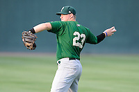 Designated hitter Matt Oberste (23) of the Savannah Sand Gnats warms up before a game against the Greenville Drive on Friday, August 22, 2014, at Fluor Field at the West End in Greenville, South Carolina. Greenville won, 6-5. (Tom Priddy/Four Seam Images)