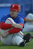 Kevin Millwood of the Philadelphia Phillies during a 2003 season MLB game at Dodger Stadium in Los Angeles, California. (Larry Goren/Four Seam Images)