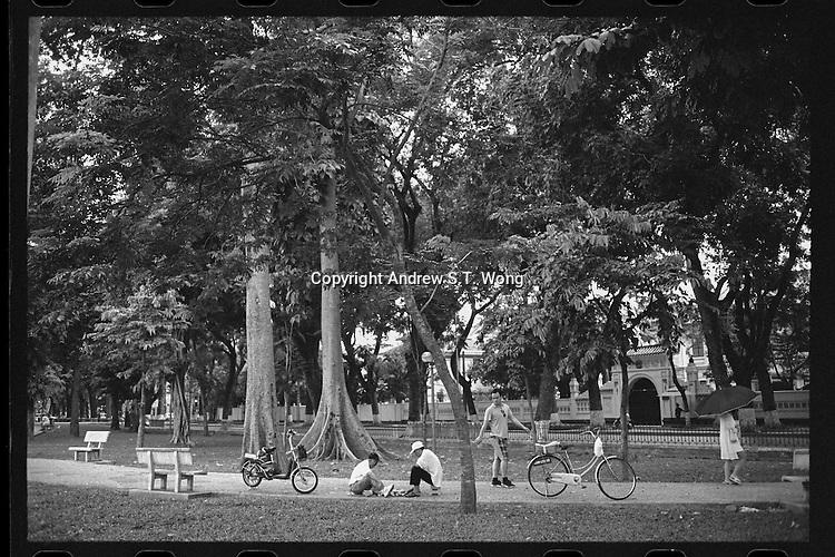 Vietnamese enjoy themselves at a park in Hanoi, Vietnam, June 2016.