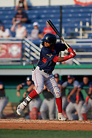 Lowell Spinners Kervin Suarez (2) at bat during a NY-Penn League game against the Batavia Muckdogs on July 10, 2019 at Dwyer Stadium in Batavia, New York.  Batavia defeated Lowell 8-6.  (Mike Janes/Four Seam Images)