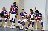 QB Bryson Spinner, LB Shurendy Concetion, QB Jeff Otis, WR Walter YOung, LB Jared Newberry (alle Frankfurt Galaxy, vlnr)