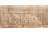 Ancient Egyptian Book of the Dead papyrus - Spell 126 - what to say in the judgement before Osiris, Iufankh's Book of the Dead, Ptolemaic period (332-30BC).Turin Egyptian Museum. White Background<br /> <br /> Spell 125 instruct the deceased as to waht to say infront of Osiris and the Forty Two Judges in the Hall of Two Maat, the netherworlds Judgement Hall. <br /> <br /> The translation of  Iuefankh's Book of the Dead papyrus by Richard Lepsius marked a truning point in the studies of ancient Egyptian funereal studies.