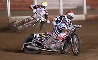 Heat 9: Ben Morley (red) and Tom Perry (yellow) - Lakeside Hammers vs Leicester Lions, Elite League Speedway at the Arena Essex Raceway, Pufleet - 04/04/14 - MANDATORY CREDIT: Rob Newell/TGSPHOTO - Self billing applies where appropriate - 0845 094 6026 - contact@tgsphoto.co.uk - NO UNPAID USE