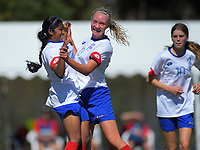 Action from the 2019 National Age Group Tournament Under-14 Girls football match between Auckland and Mainland at Memorial Park in Petone, Wellington, New Zealand on Thursday, 12 December 2019. Photo: Dave Lintott / lintottphoto.co.nz