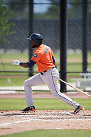 Houston Astros Yordan Alvarez (1) during a Minor League Spring Training Intrasquad game on March 28, 2018 at FITTEAM Ballpark of the Palm Beaches in West Palm Beach, Florida.  (Mike Janes/Four Seam Images)