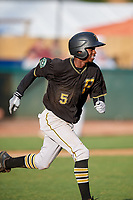 Bristol Pirates shortstop Victor Ngoepe (5) runs to first base during the first game of a doubleheader against the Bluefield Blue Jays on July 25, 2018 at Bowen Field in Bluefield, Virginia.  Bluefield defeated Bristol 6-3.  (Mike Janes/Four Seam Images)