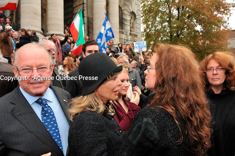Montreal  (QC) CANADA - Oct 3 2009 - Family and PQ members gather to pay tribute filmmaker and separatist figure Pierre Falardeau, Oct 3rd 2009 at Saint-Jean-Baptiste church in Montreal. In the photo : Bernard Landry and wife