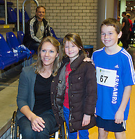 03-01-13, Rotterdam, Tennis, Selection ballkids for ABNAMROWTT, Esther Vergeer poses with ballkids