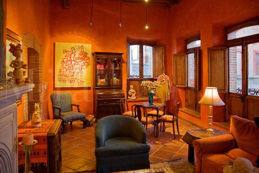 SITTING ROOM in the hotel POSADA DE LAS MINAS in the ghost town of MINERAL DE POZOS - GUANAJUATO, MEXICO