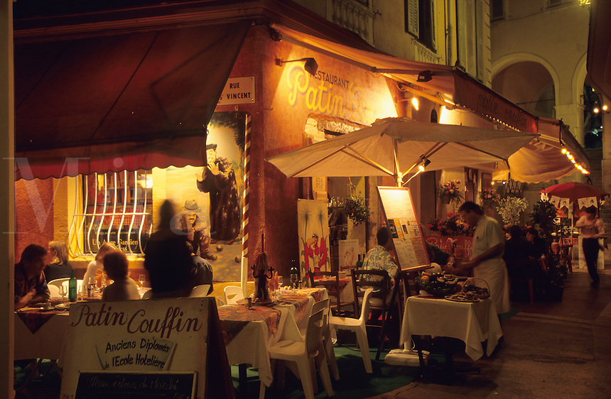 Nice. Restaurant in the old town, evening. France..