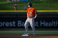 Kyle Tucker (30) of the Buies Creek Astros stands on second base after hitting a double in the top of the first inning against the Winston-Salem Dash at BB&T Ballpark on April 15, 2017 in Winston-Salem, North Carolina.  The Astros defeated the Dash 13-6.  (Brian Westerholt/Four Seam Images)