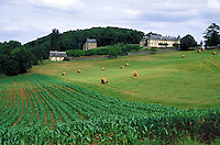 A view of the French countryside. rural, pastoral landscape, agriculture, farm, farming. France.