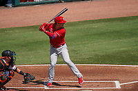 Philadelphia Phillies Nick Maton (67) bats during a Major League Spring Training game against the Baltimore Orioles on March 12, 2021 at the Ed Smith Stadium in Sarasota, Florida.  (Mike Janes/Four Seam Images)