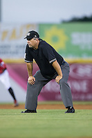 Umpire Randy Collins handles the calls on the bases during the South Atlantic League game between the Savannah Sand Gnats and the Hickory Crawdads at L.P. Frans Stadium on June 15, 2015 in Hickory, North Carolina.  The Crawdads defeated the Sand Gnats 4-1.  (Brian Westerholt/Four Seam Images)