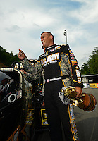 Jun. 17, 2012; Bristol, TN, USA: NHRA top fuel dragster driver Tony Schumacher celebrates after winning the Thunder Valley Nationals at Bristol Dragway. Mandatory Credit: Mark J. Rebilas-