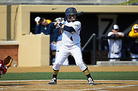 Joseph Burns (4) of the Quinnipiac Bobcats at bat against the Radford Highlanders at David F. Couch Ballpark on March 4, 2017 in Winston-Salem, North Carolina. The Highlanders defeated the Bobcats 4-0. (Brian Westerholt/Four Seam Images)