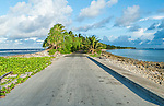 Ocean and lagoon separated by road on Funafuti, Tuvalu