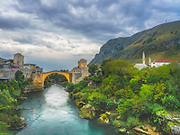 Mostar in Bosnia Herzegovina  is all about its famous old bridge, Stari Most.  This bridge served as a link between two sections of the city of Mostar for over 425 years until it was destroyed by the Croates during the Bosnian War in 1993.