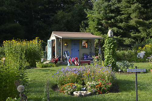 Beautiful community garden shed horizontal evening ligth with blooming flowers