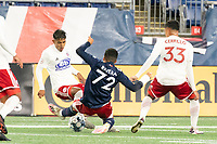 FOXBOROUGH, MA - OCTOBER 16: Damian Rivera #72 of New England Revolution II tackles Gibran Rayo #14 of North Texas SC during a game between North Texas SC and New England Revolution II at Gillette Stadium on October 16, 2020 in Foxborough, Massachusetts.