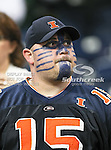 A Illinois Fighting Illini fan with some face paint on watches the 2010 Texas  Bowl football game between the Illinois  Fighting Illini and the Baylor Bears at the Reliant Stadium in Houston, Tx. Illinois defeats Baylor 38 to 14....