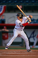 Florida Fire Frogs catcher Brett Cumberland (28) at bat during a game against the Palm Beach Cardinals on May 1, 2018 at Osceola County Stadium in Kissimmee, Florida.  Florida defeated Palm Beach 3-2.  (Mike Janes/Four Seam Images)