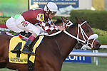 HALLANDALE BEACH, FL - JANUARY 21: #4 Our Way (FL) with jockey John Velazquez on board, duels with Enterprising (FL), to win the Sunshine Millions Turf Stakes at Gulfstream Park on January 21, 2017 in Hallandale Beach, Florida. (Photo by Liz Lamont/Eclipse Sportswire/Getty Images)