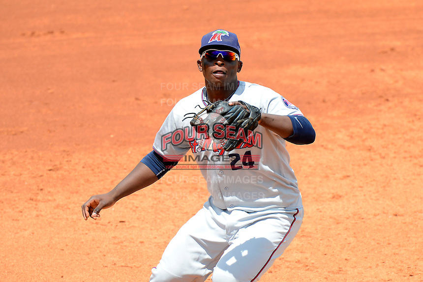 Fort Myers Miracle third baseman Miguel Sano #24 fields a ball during a game against the Bradenton Marauders at McKechnie Field on April 7, 2013 in Bradenton, Florida.  Fort Myers defeated Bradenton 9-8 in ten innings.  (Mike Janes/Four Seam Images)