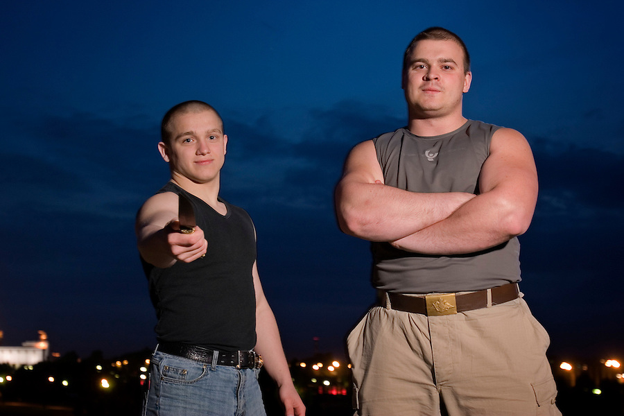 Moscow, Russia, 26/05/2006..22 year old Maxim [bigger], known as Tesak, and 18 year old Andrei, known as Dadya, skinhead members of Russian fascist group Format 18.