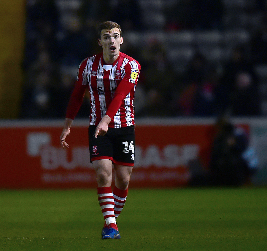 Lincoln City's Harry Toffolo<br /> <br /> Photographer Andrew Vaughan/CameraSport<br /> <br /> The EFL Sky Bet League Two - Lincoln City v Yeovil Town - Friday 8th March 2019 - Sincil Bank - Lincoln<br /> <br /> World Copyright © 2019 CameraSport. All rights reserved. 43 Linden Ave. Countesthorpe. Leicester. England. LE8 5PG - Tel: +44 (0) 116 277 4147 - admin@camerasport.com - www.camerasport.com