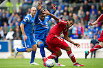 St Johnstone v Aberdeen...21.08.10  .Jerel Ifil holds off Collin Samuel.Picture by Graeme Hart..Copyright Perthshire Picture Agency.Tel: 01738 623350  Mobile: 07990 594431
