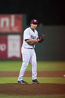 Idaho Falls Chukars relief pitcher Ted Cillis (24) prepares to deliver a pitch during a Pioneer League game against the Billings Mustangs at Melaleuca Field on August 22, 2018 in Idaho Falls, Idaho. The Idaho Falls Chukars defeated the Billings Mustangs by a score of 5-3. (Zachary Lucy/Four Seam Images)
