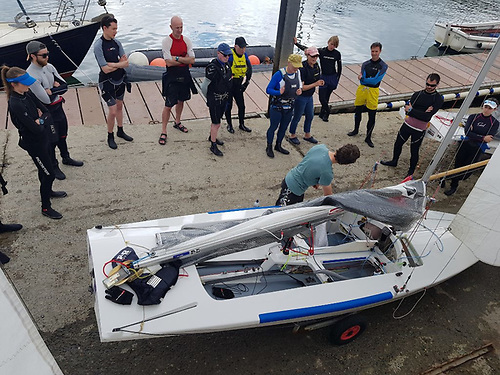Barry McCartin leads a coaching session with the Fireball dinghy class at the DMYC in Dun Laoghaire Harbour