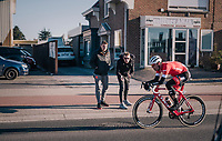 Jasper Stuyven (BEL/Trek-Segafredo) cheered on while he tries to stay out of reach of a chasing peloton (and repeat his solo win of 2 years ago...)<br /> <br /> 70th Kuurne-Brussel-Kuurne 2018<br /> Kuurne › Kuurne: 200km (BELGIUM)
