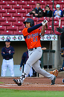 Bowling Green Hot Rods first baseman Kaleo Johnson (21) swings at a pitch during a Midwest League game against the Cedar Rapids Kernels on May 2, 2019 at Perfect Game Field in Cedar Rapids, Iowa. Bowling Green defeated Cedar Rapids 2-0. (Brad Krause/Four Seam Images)