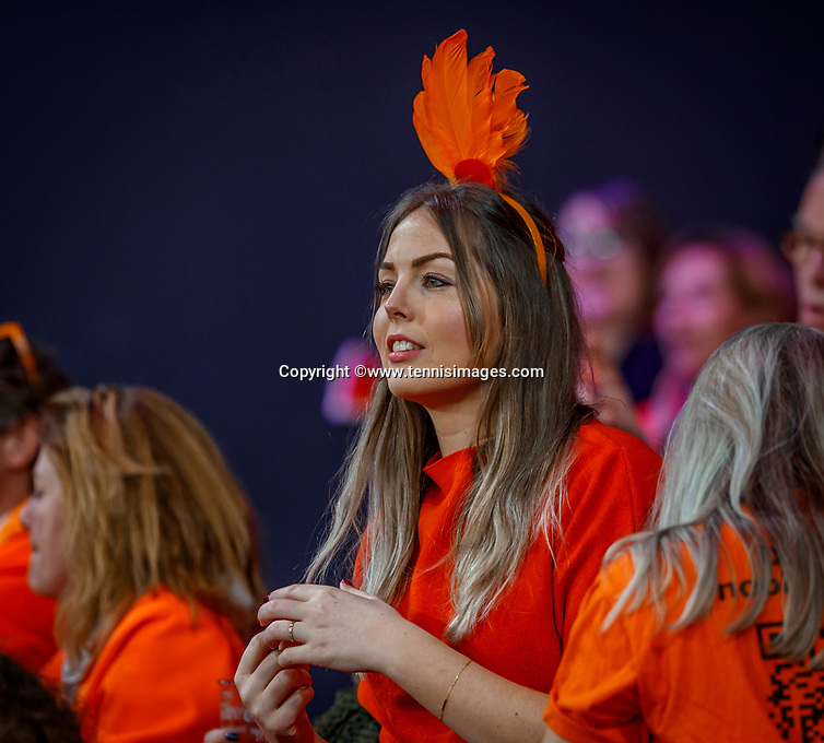 The Hague, The Netherlands, Februari 8, 2020,    Sportcampus, FedCup  Netherlands -  Balarus, Dutch supporter<br /> Photo: Tennisimages/Henk Koster