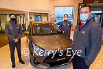 Kelliher's Toyota sales team with the number 1 selling Hybrid in Kerry. Front right: Jack Watkinson. Back l to r: Niall Sheehan and Tommy Hayes.