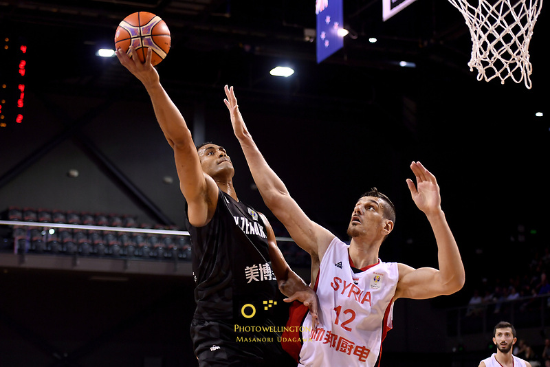 New Zealand Tall Blacks' Mika Vukona and Syria's Abdulwahab Alhamwi in action during the FIBA World Cup Basketball Qualifier - NZ Tall Blacks v Syria at TSB Bank Arena, Wellington, New Zealand on Sunday 2 2018. <br /> Photo by Masanori Udagawa. <br /> www.photowellington.photoshelter.com