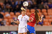 HOUSTON, TX - FEBRUARY 03: Abby Dahlkemper #7 of the United States battles with Maria Paula Salas #17 of Costa Rica in the air during a game between Costa Rica and USWNT at BBVA Stadium on February 03, 2020 in Houston, Texas.
